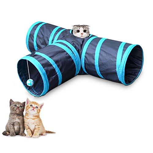 Katzenspielzeug Katzentunnel, Berennis Klappbar 3-Wege-Spiel Tunnel mit Knistern Papier und Spaß ball für Kaninchen Hasen Katze Hunde und Kleintiere Haustier