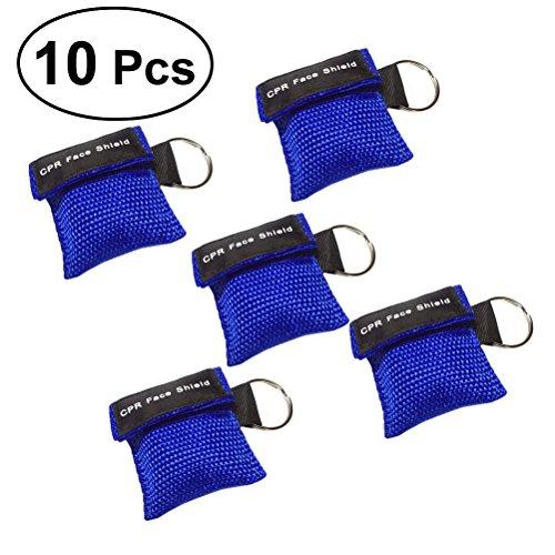 UEETEK 10 STÜCKE CPR Gesichtsmasken Einwegventil Rettungs Gesichtsschilde Notfall Kits Keychain Kits für Erste Hilfe oder AED Ausbildung (Blau)