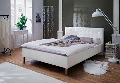 lifestyle4living Bett, Doppelbett, Polsterbett, Bettgestell, Ehebett, Liegefläche 140x200 cm, weiß, Strass, Metallfüße, Kunstleder
