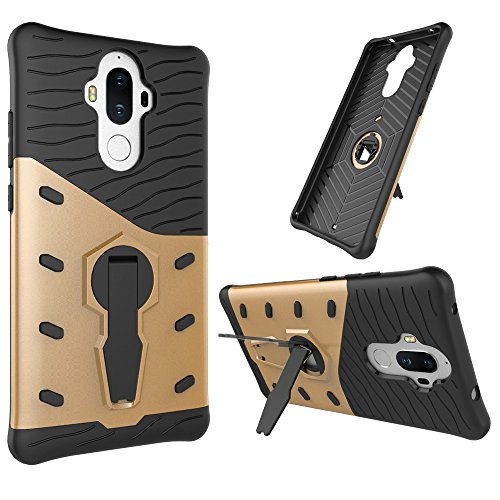 Für Huawei Mate 9 Fall Neue Rüstung Tough Style Hybrid Dual Layer Rüstung Defender Soft TPU / PC Rückseiten Fall Fall Mit 360 ° Stand [Shockproof Case] ( Color : Blue ) Gold