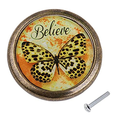 MagiDeal Antique Brass Cabinet Drawer Round Pulls Cupboard Knob Handle Yellow Butterfly Pattern