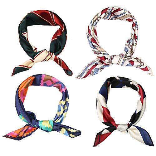 Lurrose 4 Stück Seide Haarbänder Fashion Knoten-Haarbänder Turban Kopfwickel Satin Haaraccessoires Handtasche Griff Schal Paket Seide Haarband für Frauen Mädchen (Seide Schal Handtasche)