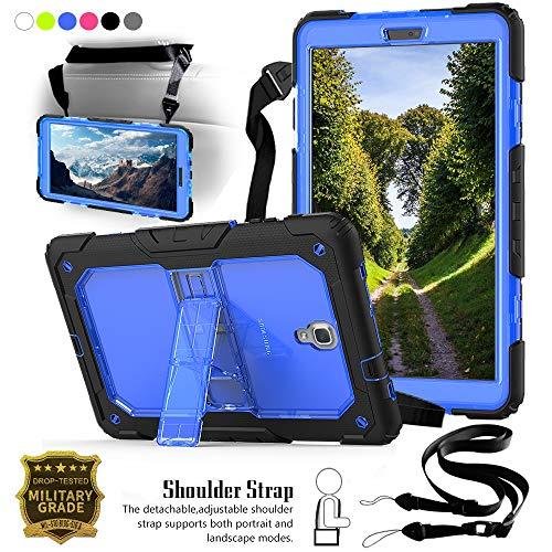 Junfire Hülle für Samsung Galaxy Tab A 10.5 Hülle T590 Cover Backcover mit Ständer+Schultergurt, Komplettschutz Stoßfest Kinderfreundlich für Samsung Galaxy Tab A 10.5 Zoll T590,T595(Blau)