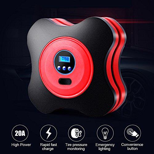 Digitaler Reifen Kompressor, Bodecin Tragbaren AUTO Reifen Pumpe Reifen Luftpumpe Pumpe Kompressor Luftpumpe mit Digitalanzeige für Autos, LKW, Fahrräder oder RVs, Automatik und Basketbälle (Rot)