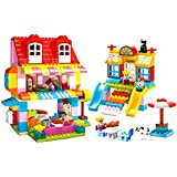 Wise Guys Happy Family House, Slide, Seesaw Set & More Blocks Educational Toys For Kids Construction Building Blocks 210 Pieces - Multi Color