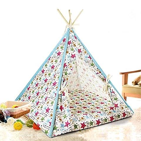 Petite chienne Cat Excellente tente, Toile durable en bois massif, Lit chiot chaton, avec coussin assorti , Star , L