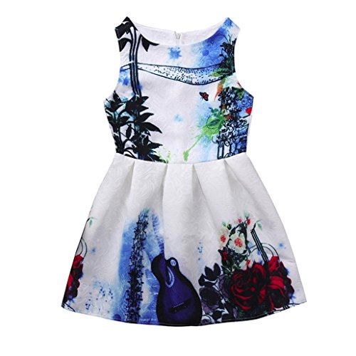 Girl's Dress,OSYARD Flower Children Kids Girls Princess Floral Printed Sleeveless Clothes Dresss