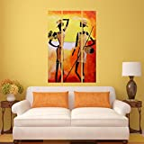#6: DeStudio Two African Statue Wall Painting Stickers (Wall Covering Area : 60cm X 86cm )-13523