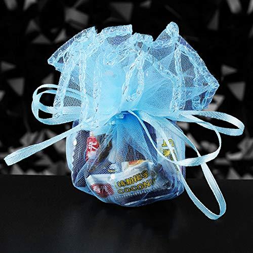 100pz sacchetti tulle veli organza con nastrino per matrimonio compleanno battesimo comunione bianco (blu)