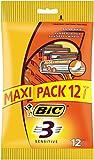 BIC 3 Sensitive Rasoirs Jetables pour Homme - Pochette de 12