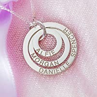 Solid 9ct White Gold Personalised Three Disc Pendant Necklace With Optional Chain In Gift Box