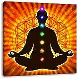 Meditation mit den 7 Chakren, Format: 60x60 auf Leinwand, XXL riesige Bilder fertig gerahmt mit Keilrahmen, Kunstdruck auf Wandbild mit Rahmen, günstiger als Gemälde oder Ölbild, kein Poster oder Plakat