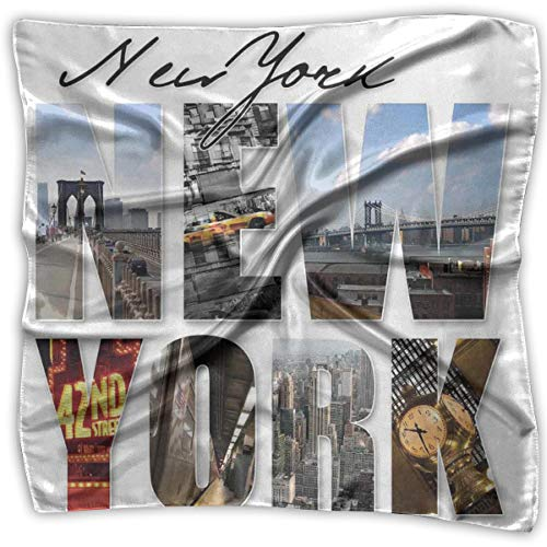 Mixed Designs Silk Square Scarves Bandana Scarf, New York City Collage Featuring With Different Areas Of The Big Apple Manhattan,Womens Neck Head Set New York Satin Bow