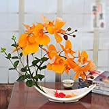 LVLIDAN künstliche Blume Kunstblumen Fake Phalaenopsis Sets Dekoration PU Topf gelb