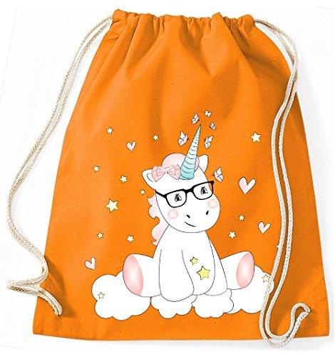 Mein Zwergenland Jutebeutel Einhorn Cutie mit Brille, 12 L, Schwarz Orange
