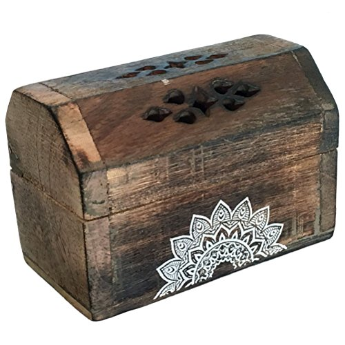 Boite Porte cône d'encens en bois livrée avec 10 cônes d'e