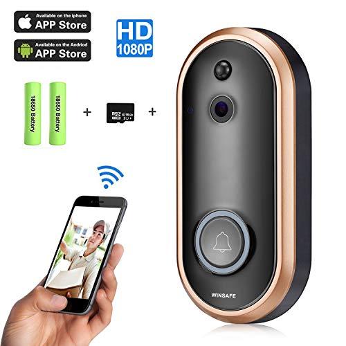 Intelligente Video-T¨¹rklingel 1080P HD WINSAFE WiFi-?berwachungskamera mit Gong, Echtzeit-Gespr?ch und Video in Echtzeit, Nachtsicht, PIR-Bewegungserkennung und App-Steuerung f¨¹r iOS, Android