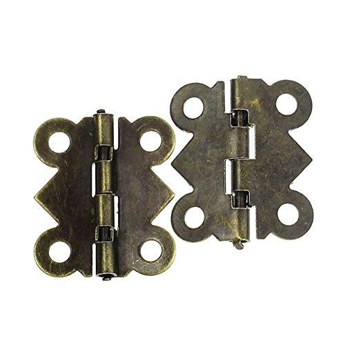 20×Chytaii Scharnier Türscharniere Türangeln Mini Schmetterling Scharniere Vintage Schrankscharniere für Schmuckbox Schrank Schublade Tür Bronze -