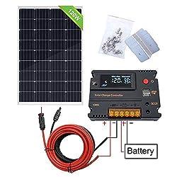 ECO-WORTHY 100W 120W 12V Solarpanel-Kit mit 20A Solarladeregler & 5m Solarkabel & Z-Halterungen für Wohnmobil-Wohnmobile für Wohnmobile (120W Solarpanel-System)