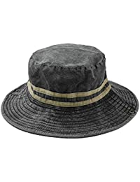 2714d80ffa720 Cokk Bucket Hat Mens Panama Fishing Hat Cap Washed Cotton Soft Striped  Bucket Hats for Women