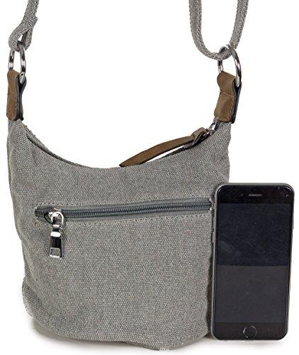 L&S Collection Stern Handtaschen Damen - kleine Umhängetasche - Mini Stern Tasche aus Canvas (16 x 16 x 14 cm) Grau (Hellgrau)