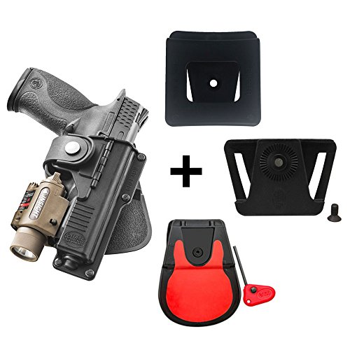 Fobus rotating roto paddle retention tactical holster with safety strap + belt attachment + 6cm police wide duty belt adapter for Glock 17, 22, 31 Duty Laser