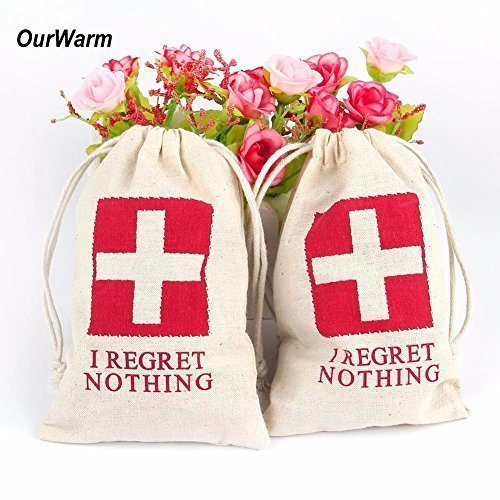 RET NOTHING Wedding Party Favor Bags RED GLITTER CROSS Bachelorette Hangover Kit Bags Recovery Kit Bags Survival Kit Bags Cotton Muslin Drawstring Bag ()