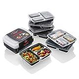 Contenitori per alimenti [confezione da 10] di plastica con 3 scomparti, impilabili, con coperchio, per freezer, ermetici, per cibo pronto, per microonde, adatto al controllo delle porzioni