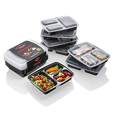 Meal Prep Containers - The BEST Food Storage Solution - Stackable 3-Compartment Plastic Container, MONEY BACK GUARANTEE- Lunch Box/Bento Box with Lids for Portion Control, Meal Prepping, Kitchen Storage, Freezer Containers, Hot Food Containers, Food Storage-Plastic Food Containers/Plastic Storage Containers-Large Airtight Containers-Meal Prep Box for Food Preparation + Portion Control Suitable Microwave Boxes-Food Container Set/Tupperware/Divided Plate + Meal Prep Ideas by Redvers Homeware
