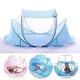 Reisebett für Kinder Faltbar Babybett Moskitonetz Insektenschutz Mückennetz Kinderbrett Kissen Tent Versiegeltes Moskitonetz Babybetten für 0-3 Jahre Altes Blau/Rosa