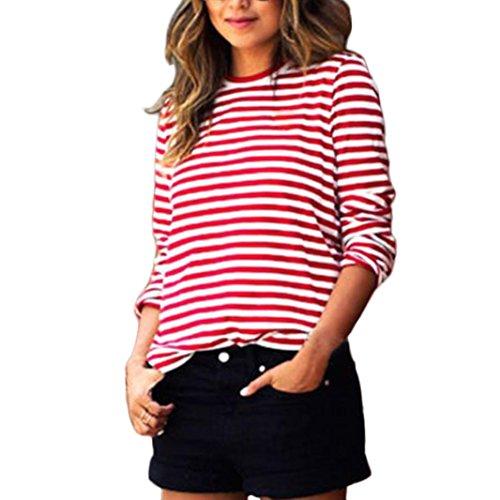 WOCACHI Damen sportlich Langarm Rundhals gestreiften Pullover Hemd-Bluse Tops T-Shirt (M, Rot)