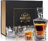 KANARS WD07 Jarra de Whisky, 5 Piezas, 100% Libre de Plomo Cristalino Resistente Botella de Whisky Set para Scotch, Bourbon,800ml Decantador y 4 Vasos de Whisky 260ml, Caja de Regalo