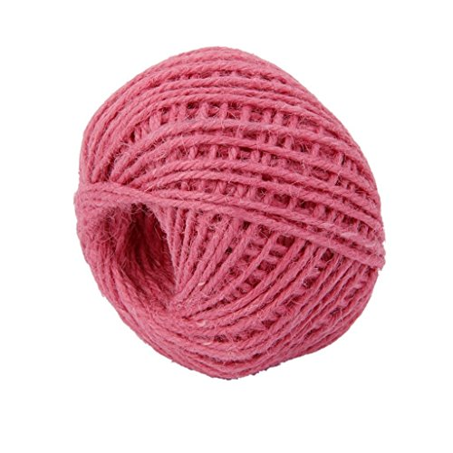 2 Rosa Binder (Demarkt 50m DIY Geschenkband, Gartenschnur Garden Rope 2mm for Crafts Arts and Gardening Applications,Rosa)
