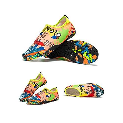 LeKuni Scarpe da Immersione da Scoglio Scarpette da Bagno Mare Spiaggia Ballo Yoga Materiale Traspirante Elastico Antiscivolo Super Leggere Unisex Scarpe Ragazzi Donna Uomini Multicolor