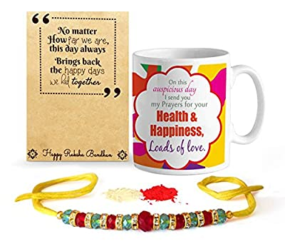 Gift for Rakshabandhan | Rakhi Gifts | Gift for Rakhi | Rakhi Gift Hamper | Rakshabandhan Gift for Brother Coffee Mug(325ml) with Rakhi and Roli Chawal Pack