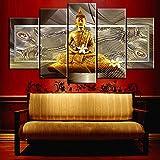 Ruifulex Ölgemälde auf Leinwand, 5 stücke Kunst Wandmalereien Schlafzimmer Wohnzimmer Hintergrund Wanddekor, goldene Buddha Weiße Blume 20 * 30 cm * 220 * 40 cm * 220 * 50 cm * 1 rahmenlose