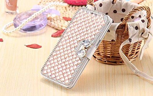 Coque iPhone 6/6s , iNenk® Bowknot soie modèle PU cuir pâte perceuse téléphone étui protecteur Fashion housse Paillettes luxe diamant Wallet Shell-violet Rose