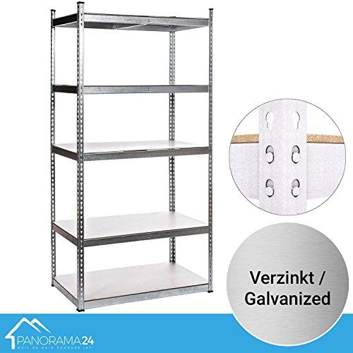 Panorama24 Lagerregal verzinkt belastbar bis 1000kg - Maße: 205 x 100 x 60 cm, Regal Kellerregal Steckregal Werkstattregal Schwerlastregal