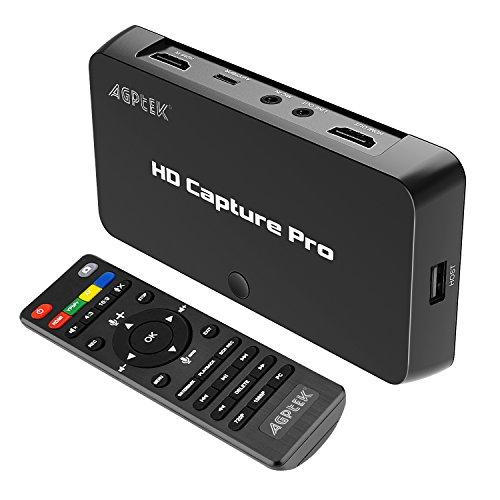 AGPtEK 1080P HD Video Capture Live Streaming Video mit Game Capture für Nintendo Switch PS4 und PS3, XBOX ONE, Videos wiedergeben / Zeitplan Aufnahme mit der Fernbedienung