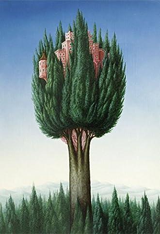 Klappkarte mit Umschlag C6- (11,5 x 17 cm) • 63713-5 ''Baumhäuser'' von Inkognito • Künstler: INKOGNITO © Sis Koch • Fantastik