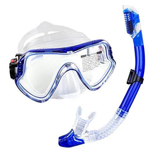 Ezeso Schnorchelset Erwachsene Taucherbrille mit Schnorchel mit Schnorchel für Herren und Damen Anti-Beschlag Gläser wasserdichte Tauchmaske und trockenem,blau (Sicherheits-maske Sauerstoff)