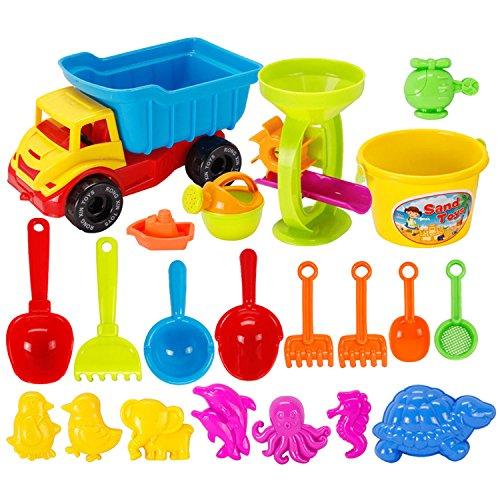 Strandspielzeug, BEETEST 21 PCS lustige Kinder Strand Sand Spiel Spielzeug Set einschließlich Shell Dolphin Shovels Harken LKW Sanduhr Kinder Strand vorgeben Spielset Rolle spielen Spielzeug Kit (Shell Lkw)