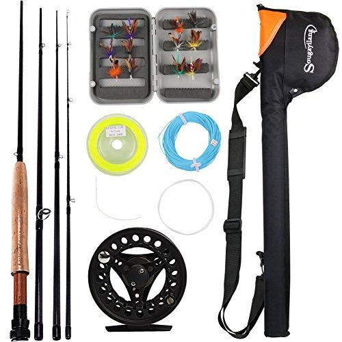 Sougayilang Fliegen-Angelrute mit Fliegen-Angelrolle, Kombi-Set, Black Full Kits with Bag