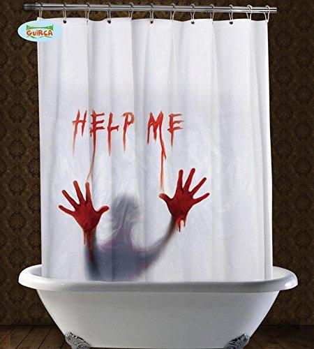 DUSCHVORHANG - HELP ME - blutig, 152 x 180 cm, Halloween Dekorationen Türdeko Doordeko Raumdekorationen Skull Totenschädel (Halloween Türdekoration)