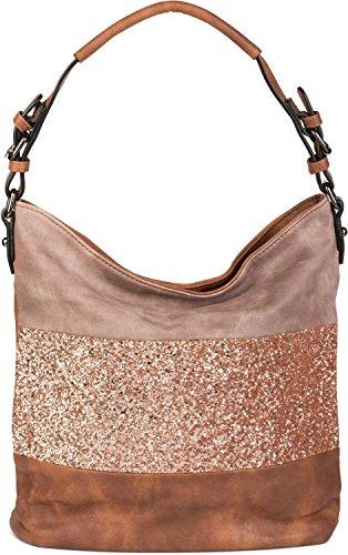 styleBREAKER raffinata hobo bag a 2 colori, borsetta con righe paillettate, borsa shopping, borsa da spalla, borsa, donna 02012181, colore:Marrone / Talpa Marrone / Talpa