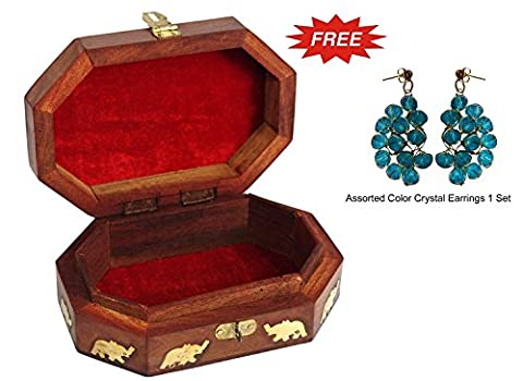 Wooden Jewelry Box Octagonal Handcrafted Elephant Brass Inlay & Wood Carvings 6x4 Inches by Super India