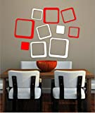 [ Myhome ] SQUARE red & white Pvc Vinyl Wall sticker ( withBuy one Vinyl Sticker and get 1. Set Black and Red Vinyl sticker Free ) best price on Amazon @ Rs. 199