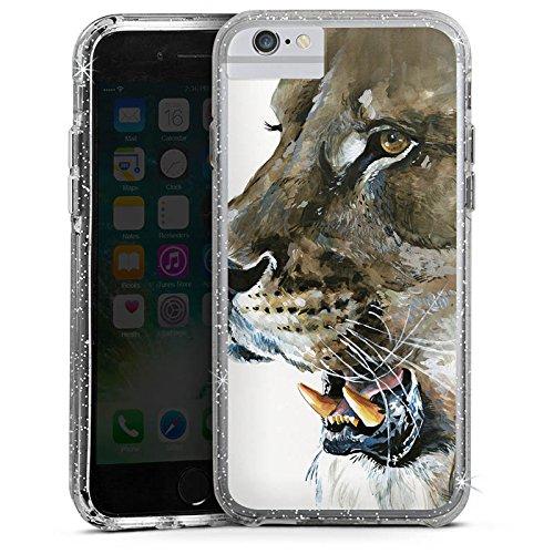 Apple iPhone 7 Plus Bumper Hülle Bumper Case Glitzer Hülle Lo?We Loewe Raubkatze Bumper Case Glitzer silber