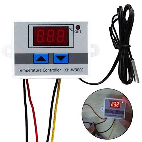HMOCNV Digital LED Pre-Wire Cool und Hot Temperatur Regler Controller Thermostat Bedienschalter mit Sensor 220V/24V/12V Show, 12v - Digitale Anzeige-controller