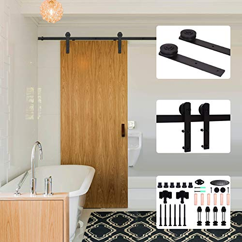 5.5FT/167cm Schiebe Tür-Hardware-Track-Kit Einzeltür Holztür - Sliding Barn Wood Door Hardware Big Wheel Roller Hanger Track Kit For Single Door - Tür-hardware Schiebe-tür Und